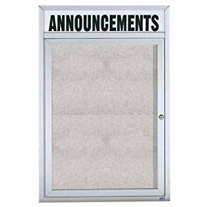 """Illuminated Outdoor Enclosed Wall Mounted Bulletin Board Frame Color: Clear Satin Anodized, Number of Doors: One, Size: 24"""" H x 18"""" W"""