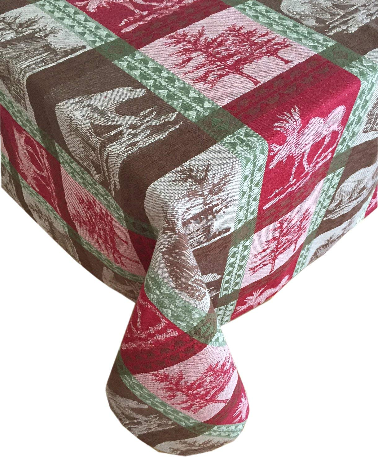 """Newbridge Christmas Wildlife Country Rustic Lodge Plaid, Moose, Bear and Cabin Cotton Jacquard Weave Holiday Tablecloth, 100% Cotton, 60"""" x 84"""" Oblong/Rectangle"""