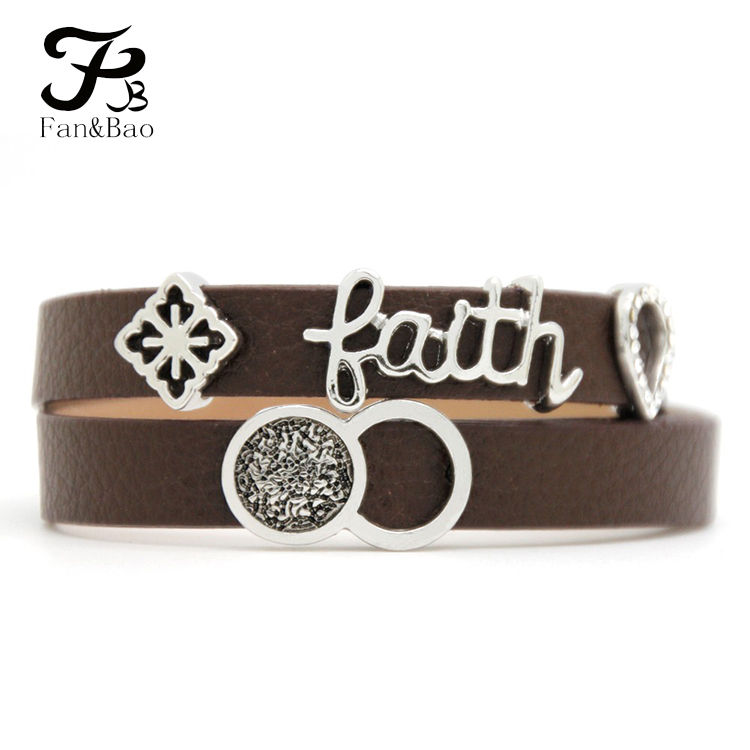 Factory Faith Letter DIY Slide Charm For Wrist Leather Bracelet