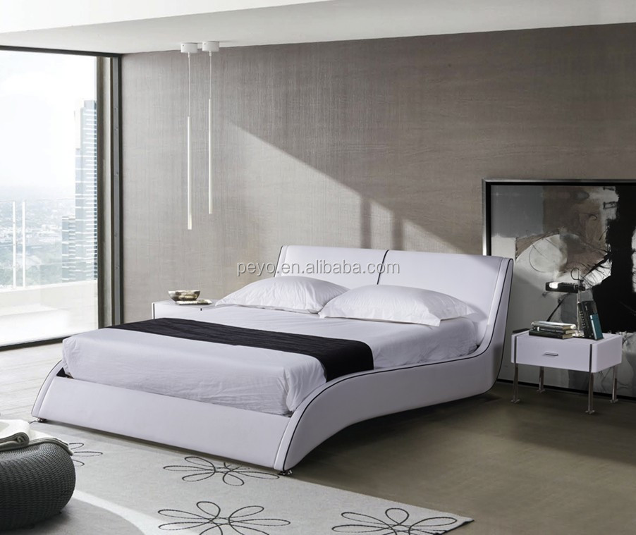 Curving Sideboard Modern White Leather Bed With Knock-down Slat Frame - Buy  White Modern Leather Bed,Modern Leather Bed Frame,Foshan Modern Furniture  ...