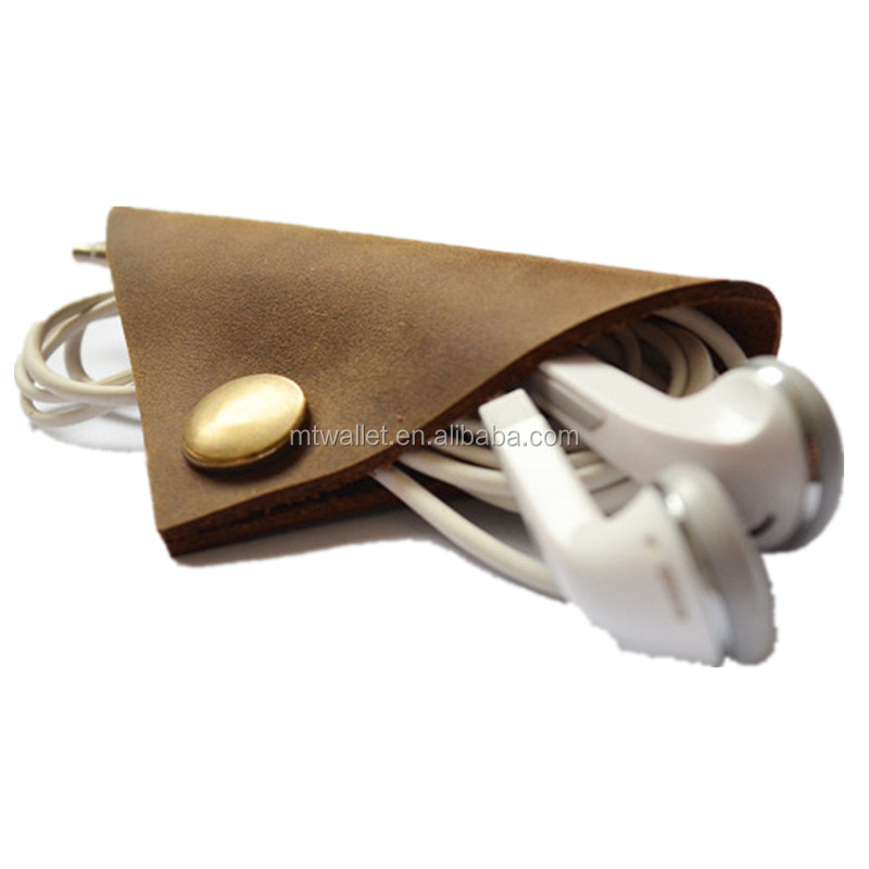 New arrival handmade leather cable card winder holder tie for earphone cell phone BROWN factory price England