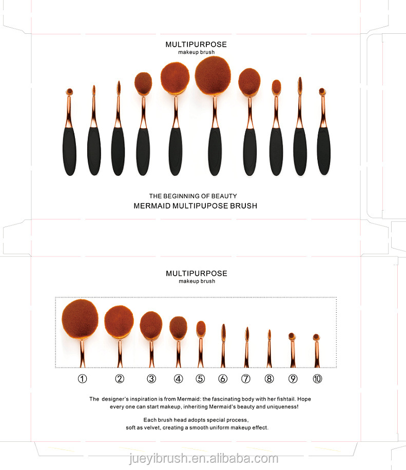 China Box package for Rose Gold Oval Toothbrush Foundation Brushes Makeup Mermaid Make up Brush set