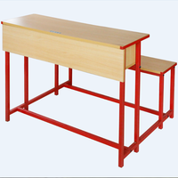 Metal Frame And Wood Combined Double School And Chair Back Student Tables Benches Durable Desk With Bench