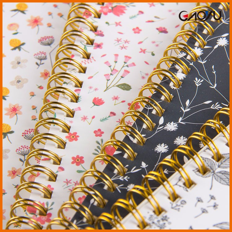 School Stationery Custom Printing Hardcover Diary Weekly Plan Gold Spiral Notebook