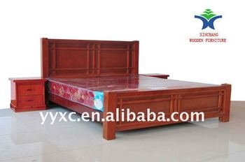 Chinese Birch Solid Double Wooden Beds In Bedroom Furniture Sets