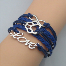 Wholesale Fashion Custom Made Love Infinity Paw Waxed Cord Leather Friendship Bracelets