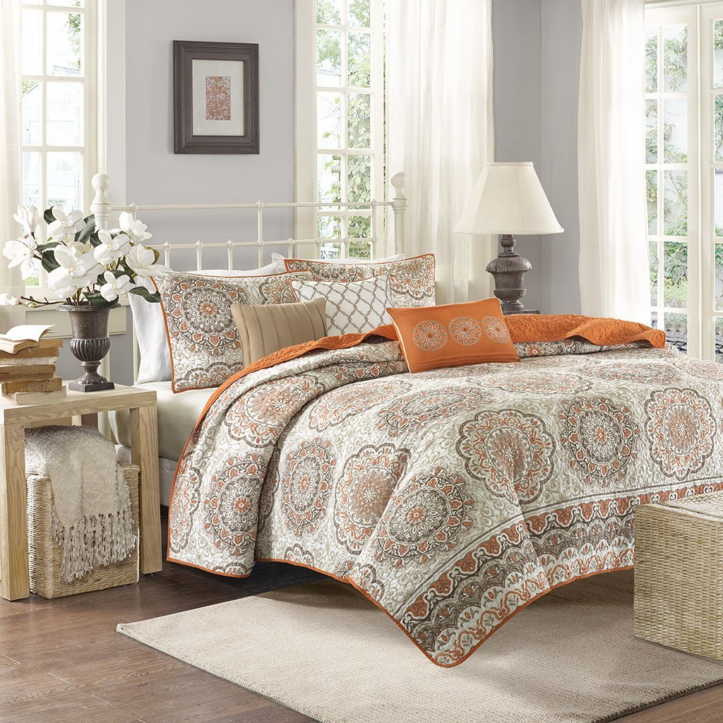 Get Quotations Madison Park Tangiers King Cal Size Quilt Bedding Set Orange Medallion
