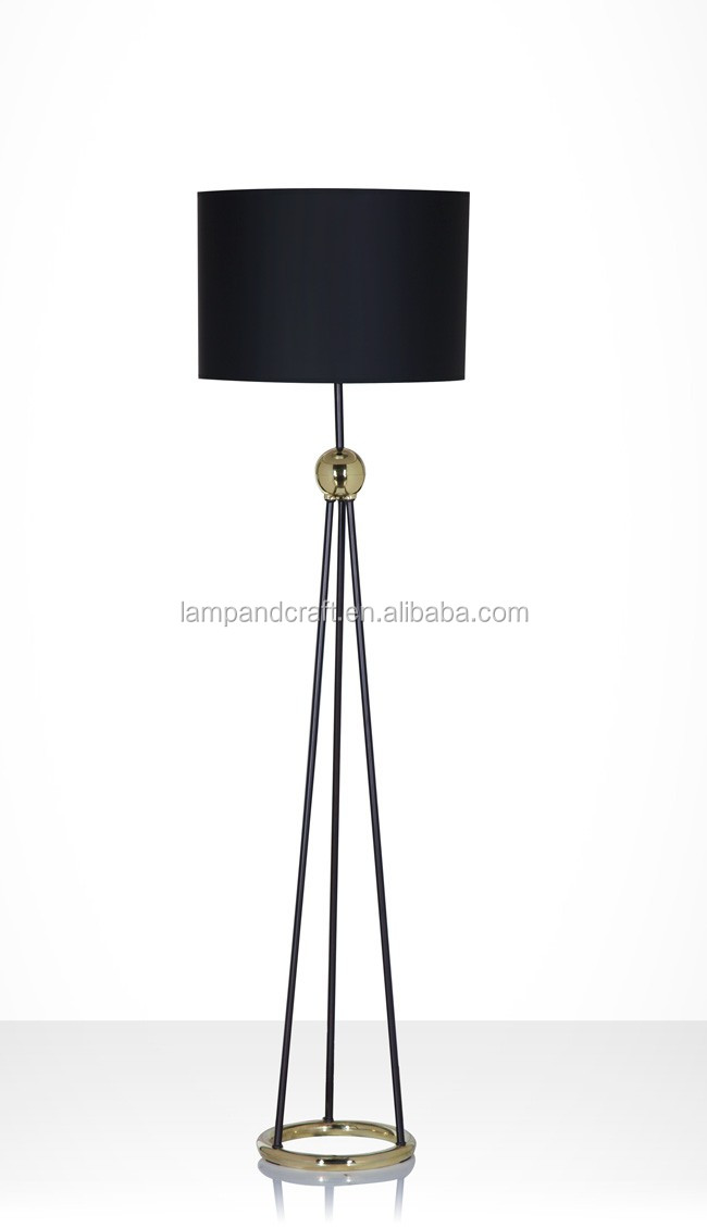 Round Metal Legs Tripod Floor Lamps With Black Fabric Lamp Shade ...