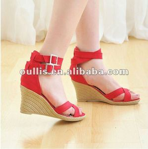beauty box small order high heel wedge sandals black GP369