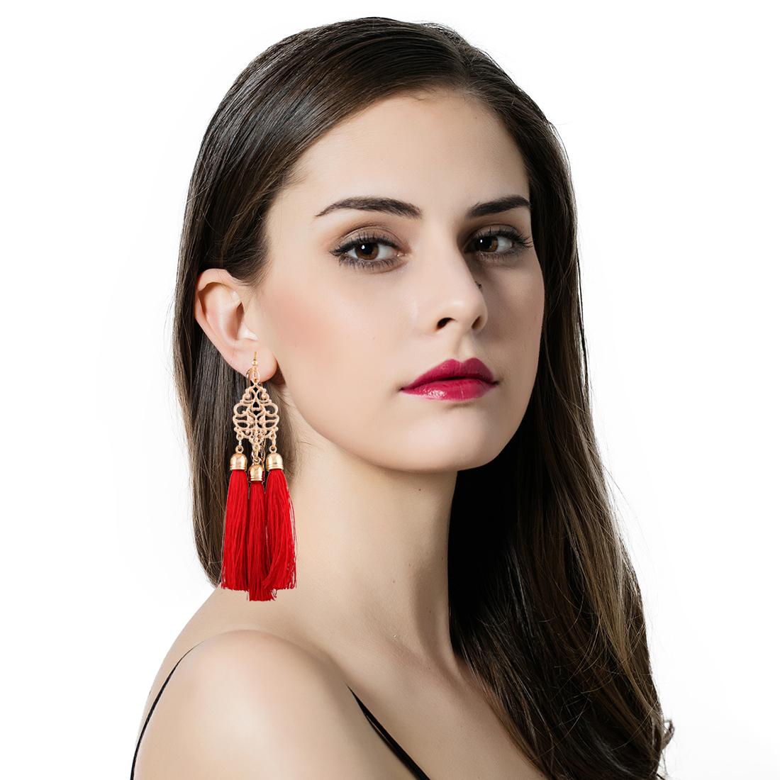 Beautiful Silk Thread Tel Earrings Red Color Drop Gift Earring