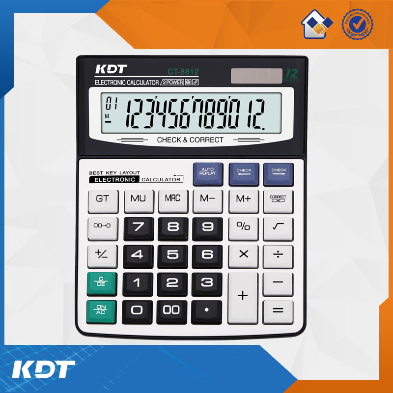China supplier 12 digits electronic function table calculator with solar energy
