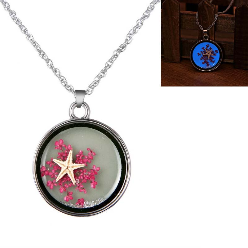 New design Magic fancy jewelry Glass glow in the dark starfish dried flower pendant necklace jewelry fashionable design for gift