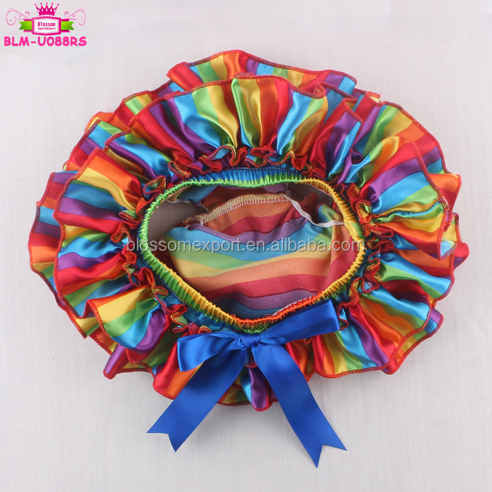 Satin Ruffles All The Way Around Diaper Cover Rainbow Stripes Baby Girl Tutu Ruffle Bloomer