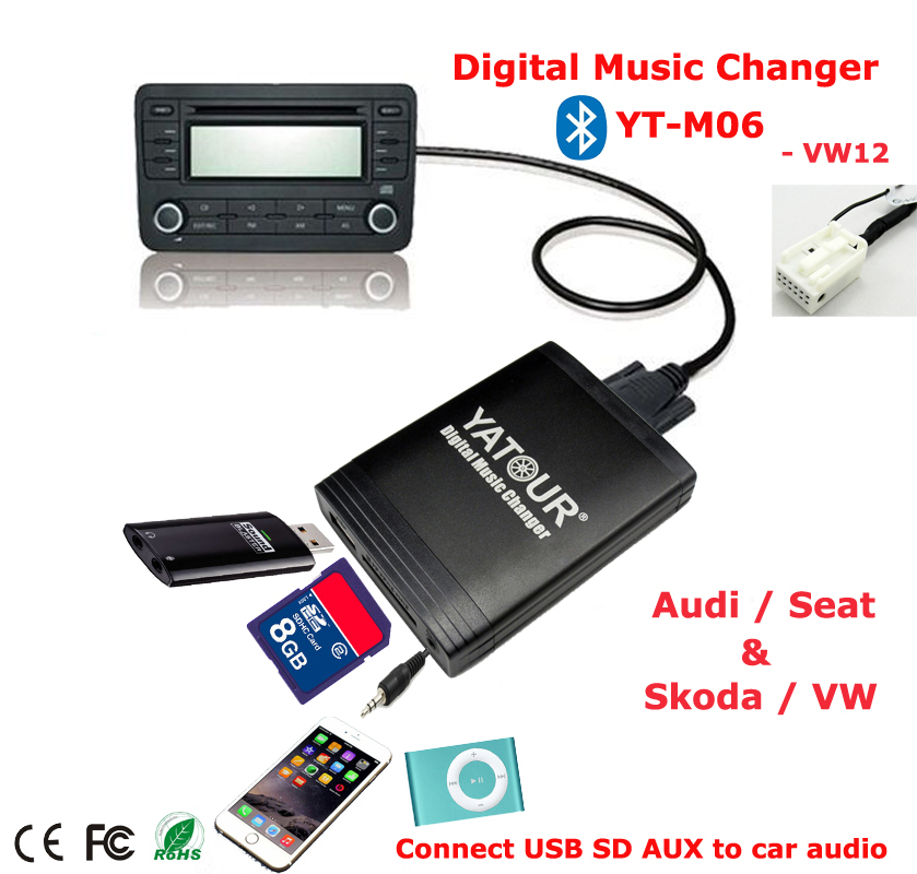 yatour digital music changer aux sd usb mp3 adapter for vw. Black Bedroom Furniture Sets. Home Design Ideas