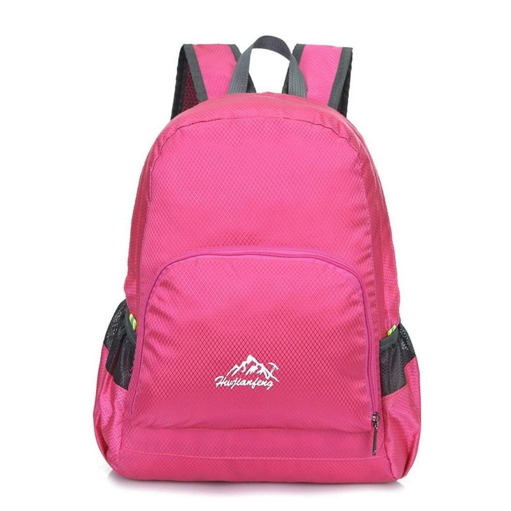 VIASA Outdoor Waterproof Bionic Camouflage Camo Pattern Folding Backpack Shoulder Bag(Hot Pink )