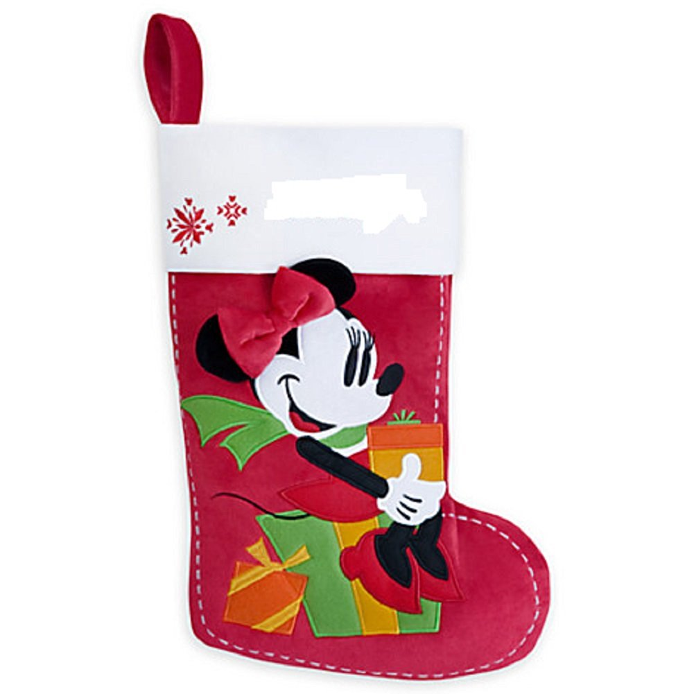 Disney Store Minnie Mouse Christmas Stocking Plush Red Decorated 2015