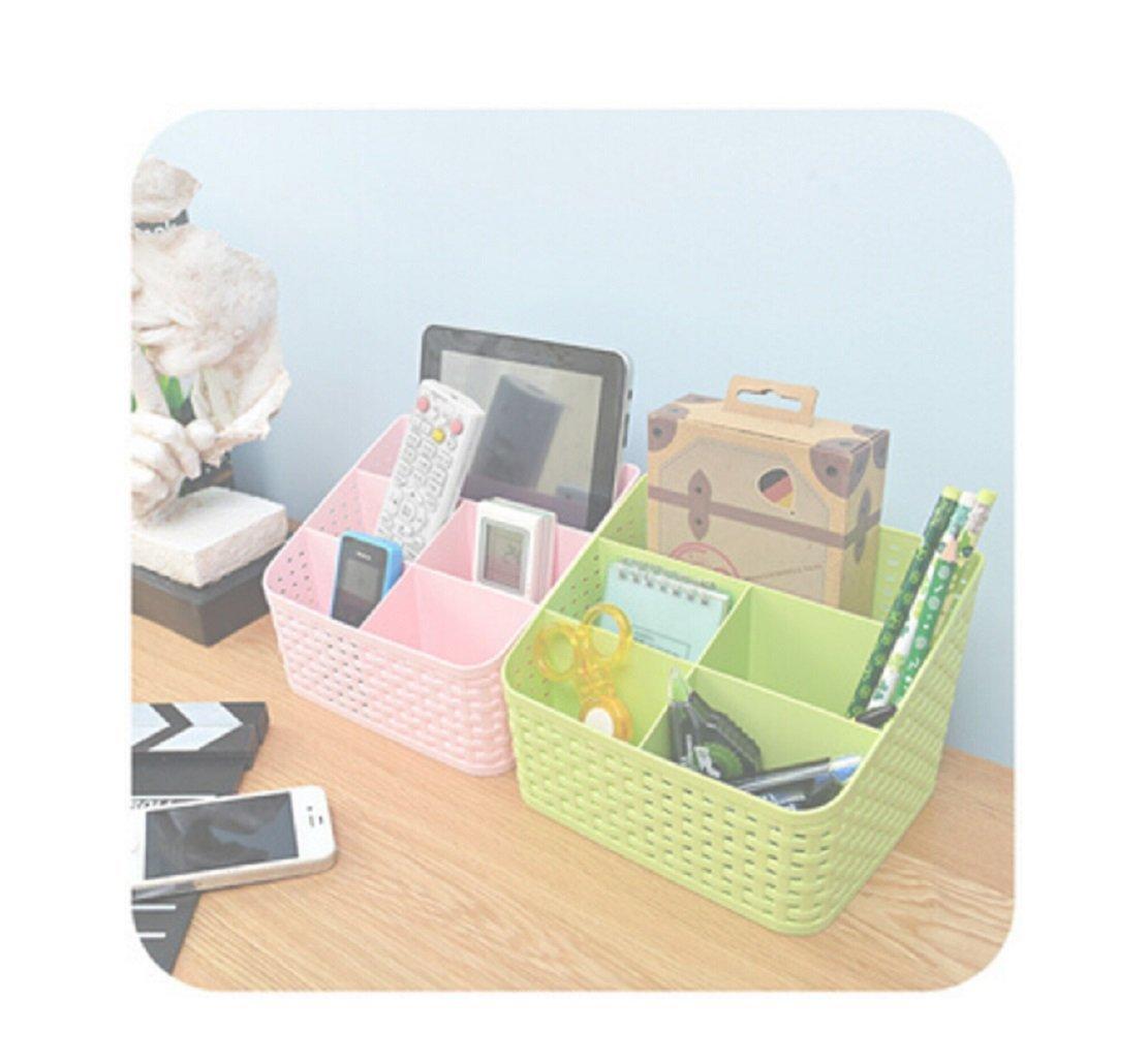 Imitation rattan multi-compartment storage box cosmetics, desktop remote control debris classification storage box(blue)
