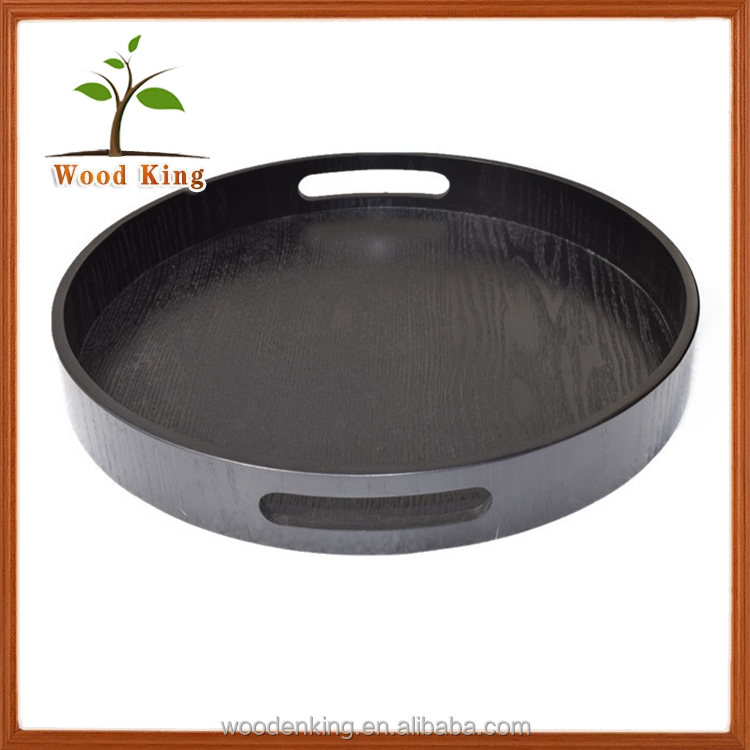 Hotel Product With A Handle Circular Wooden Bottle Service Tray