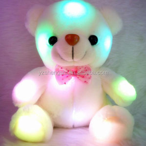 Free Sample Light Up LED White Bear Stuffed Animals Plush Toy Colorful Glowing Plush Stuffed Bear Christmas Gift for Kids