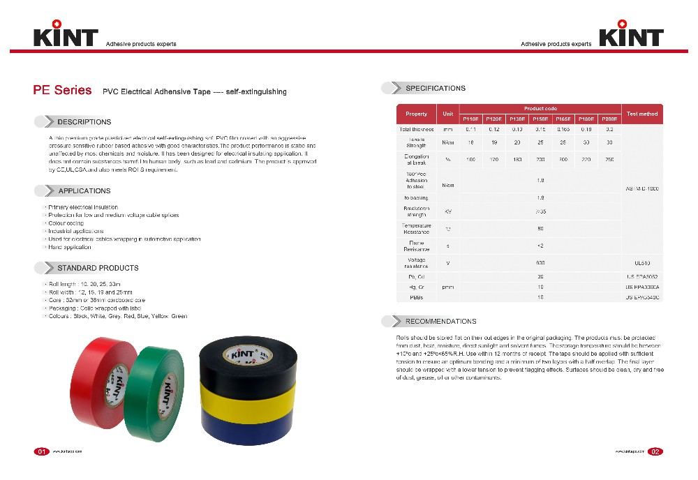 Kint pvc electrical insulation tape manufacturers for electrical insulating application-2