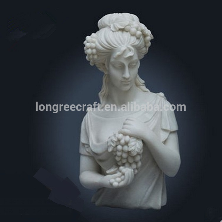 Modern Beauty Girl Bust Hold Grapes Wall Carved Stone Statue Sculpture