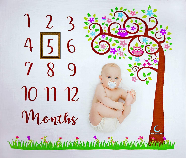 Baby Monthly Milestone Blanket | Unisex: Baby Boys & Girls | Tree & Owls Design | 100% Organic Muslin Cotton | Newborn Photo Prop | Perfect Baby Shower Gift | Large Size | by cozymoon