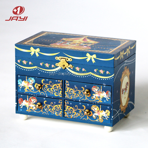 Colorful Lacquered Wood Musical Ballerina Jewelry Organizer Box
