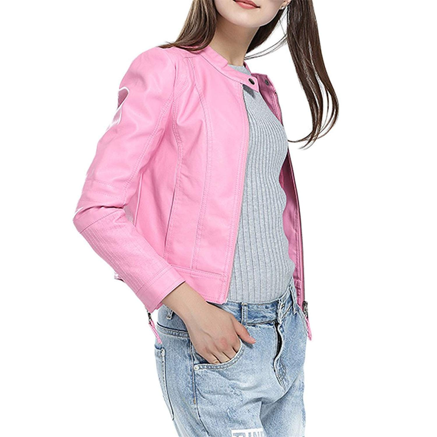 3bb89cac186 Get Quotations · Women s Fashion Faux Leather Coat Pink Jacket Slim PU  Leather Short Bomber Plus Size Jacket Blazer