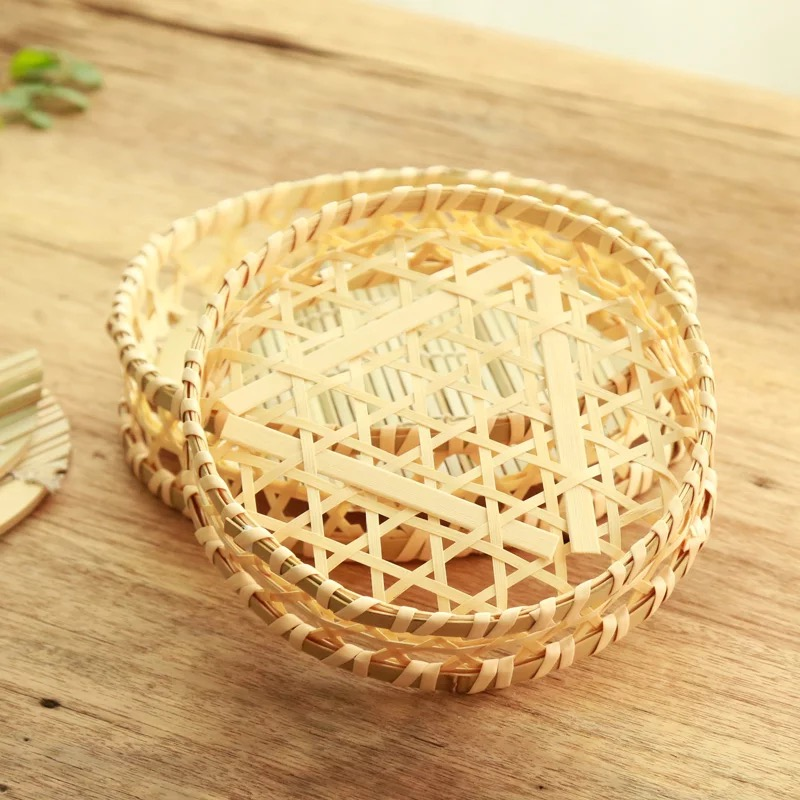 Handmade Natural Round Bamboo Weaving Fruit / Bread / Vegetable Basket For Storage