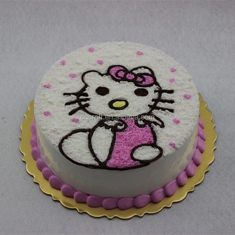 Awesome Creative Fake Round Birthday Cake Model With Hello Kitty Catcream Personalised Birthday Cards Fashionlily Jamesorg