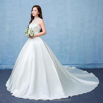 Gorgeous Satin High Neck Sweep Womens Luxury Wedding Dress - Buy ...
