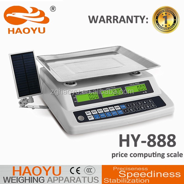 factory sales electronic price computing scale for fruits,vegetable,meat and food 40kg 10g capacity,quality and best price