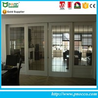 Aluminum heat preservation sliding glass door patio with glass blinds