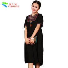 YIZHIQIU simple long one-piece mexican embroidered women dress