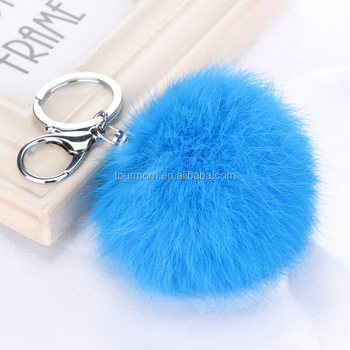 9.5 cm Real Rabbit Fur Large Ball Charm Pom Pom Keychain for Car Key Ring or 3aac597cf4756