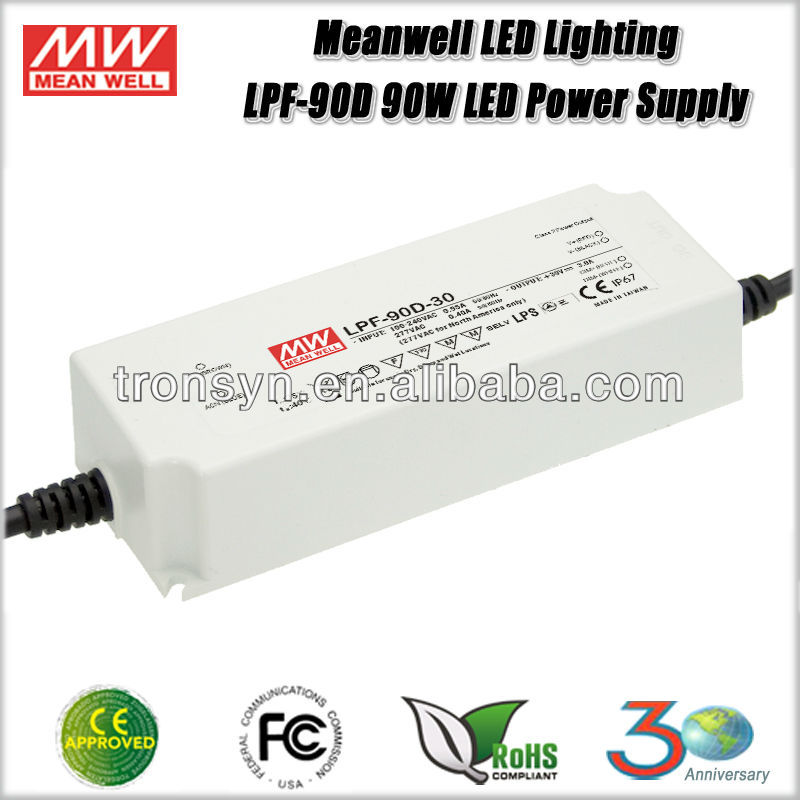 Meanwell Power Supply LPF-90D-24 (90W 24V 3.75A) 90W 24V Single Output LED Switching Waterproof Power Supply