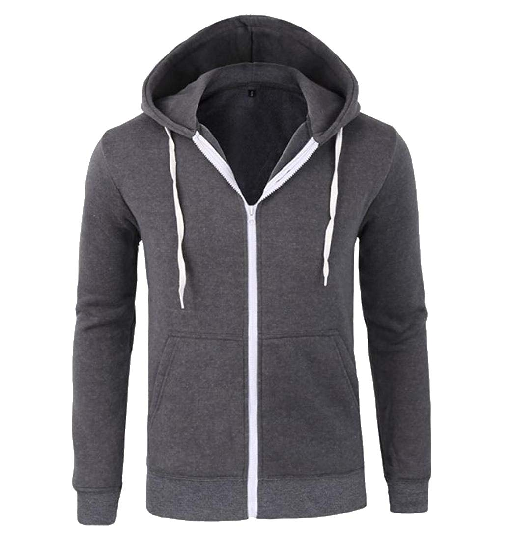 Coolred Mens Pure Color Hooded Breathable Comfort Sweatshirt Coat