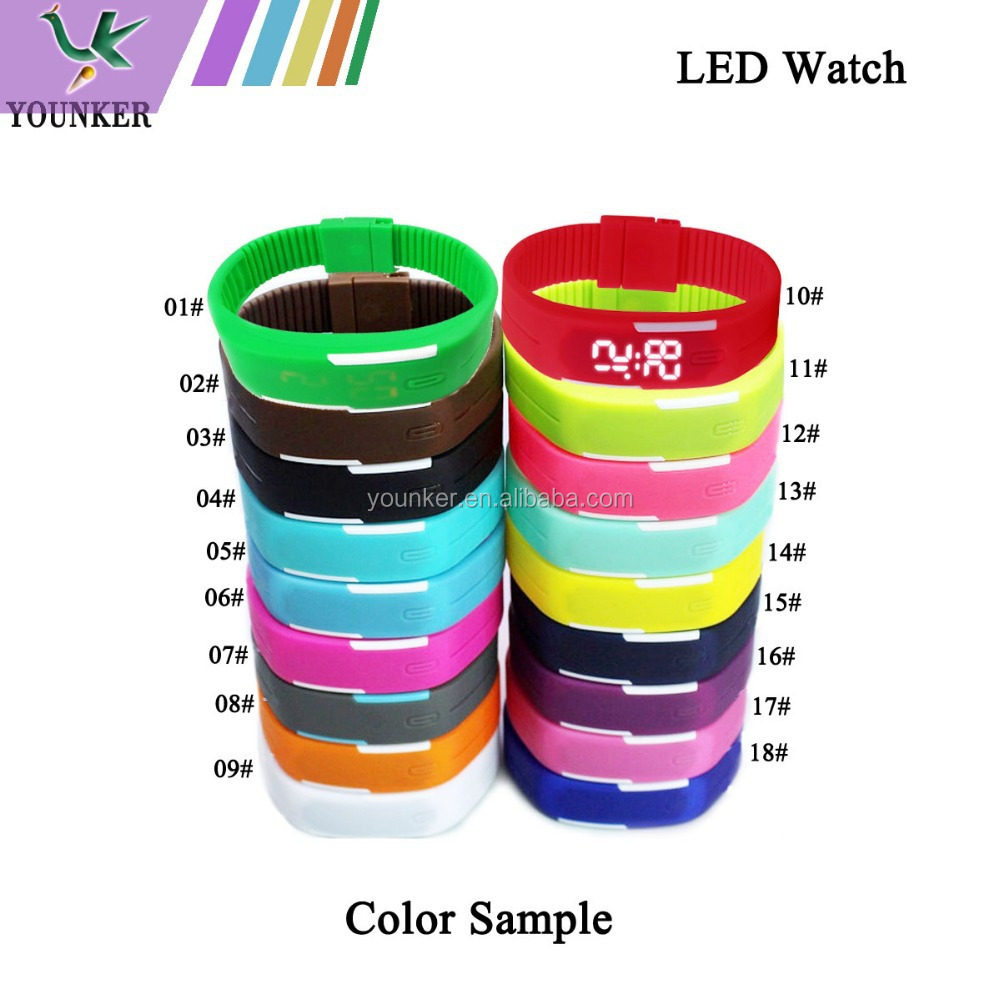 2015 Hot Sale Touch Screen LED Silicone Watch, Unisex Slim LED Silicone Band Sport Watch
