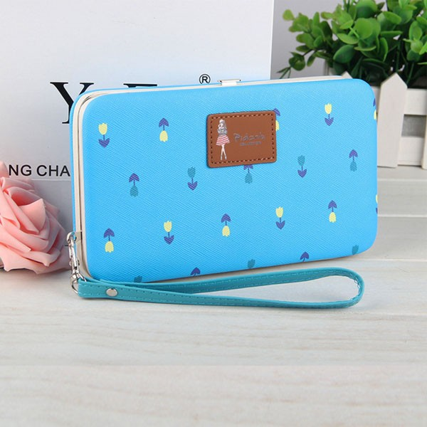 Brand Pidanlu women wallet with flower pattern cute phone case for iphone 6 plus latest design ladies purse