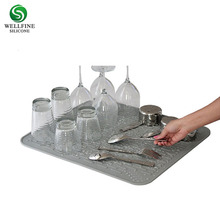 Silicone kitchen dish drying and heat resistant mat, silicone sink counter trivet mat manufacturer