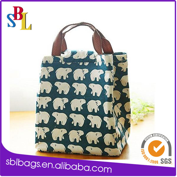 Cute Reusable Cotton Lunch Bag Insulated Lunch Tote Cooler Bag