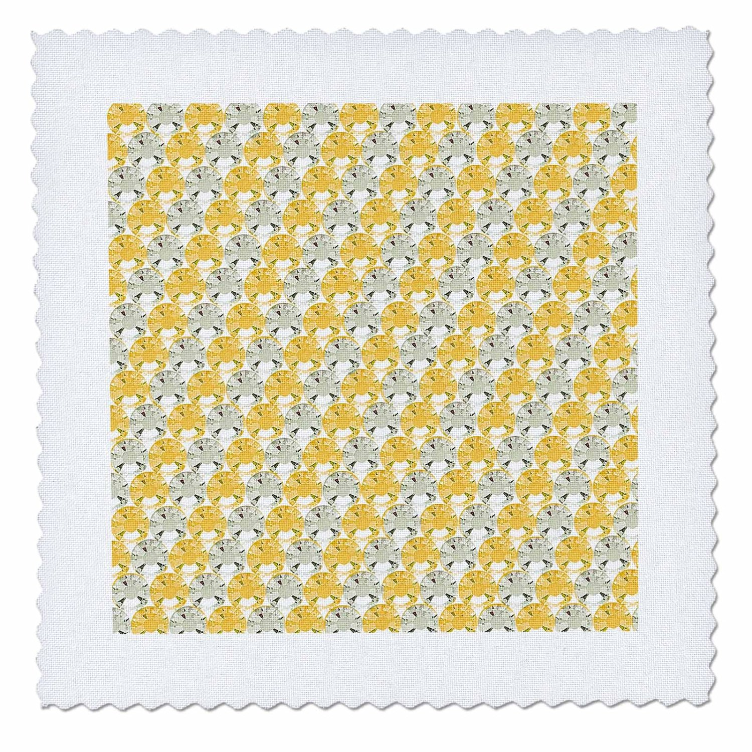 Janna Salak Designs Rhinestone Designs - Image of Clear and Yellow Stripe Rhinestone Gem Print - 25x25 inch quilt square (qs_28528_10)