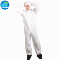 White Disposable Protective Coverall Hooded Boiler suit coverall oem