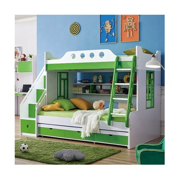 Kids Bedroom Furniture Wooden Bunk Bed With Desk And Stairs