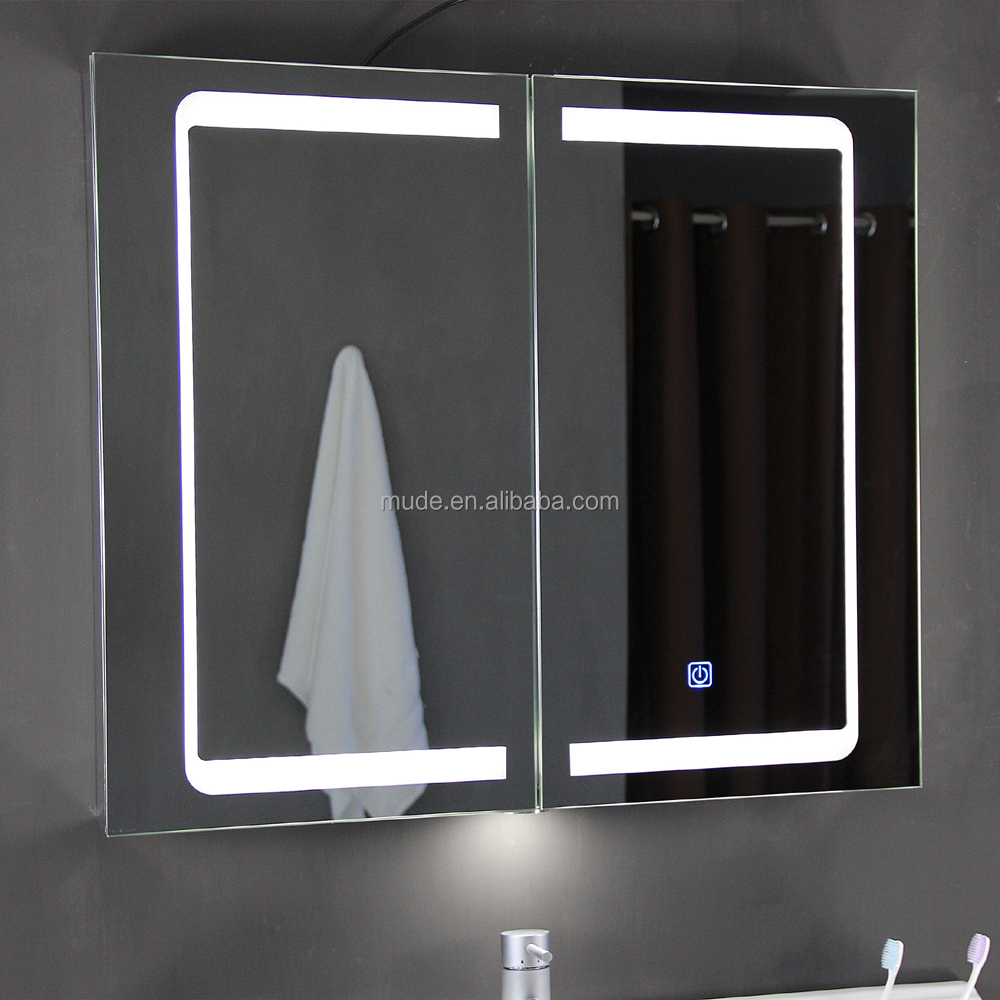 Aluminium illuminated lighted led mirror medicial <strong>cabinet</strong> for bathroom spiegelschrank