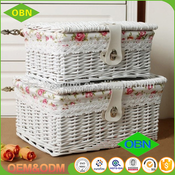 Multi Color Rectangular Large Storage Wicker Baskets With Lid And Lock