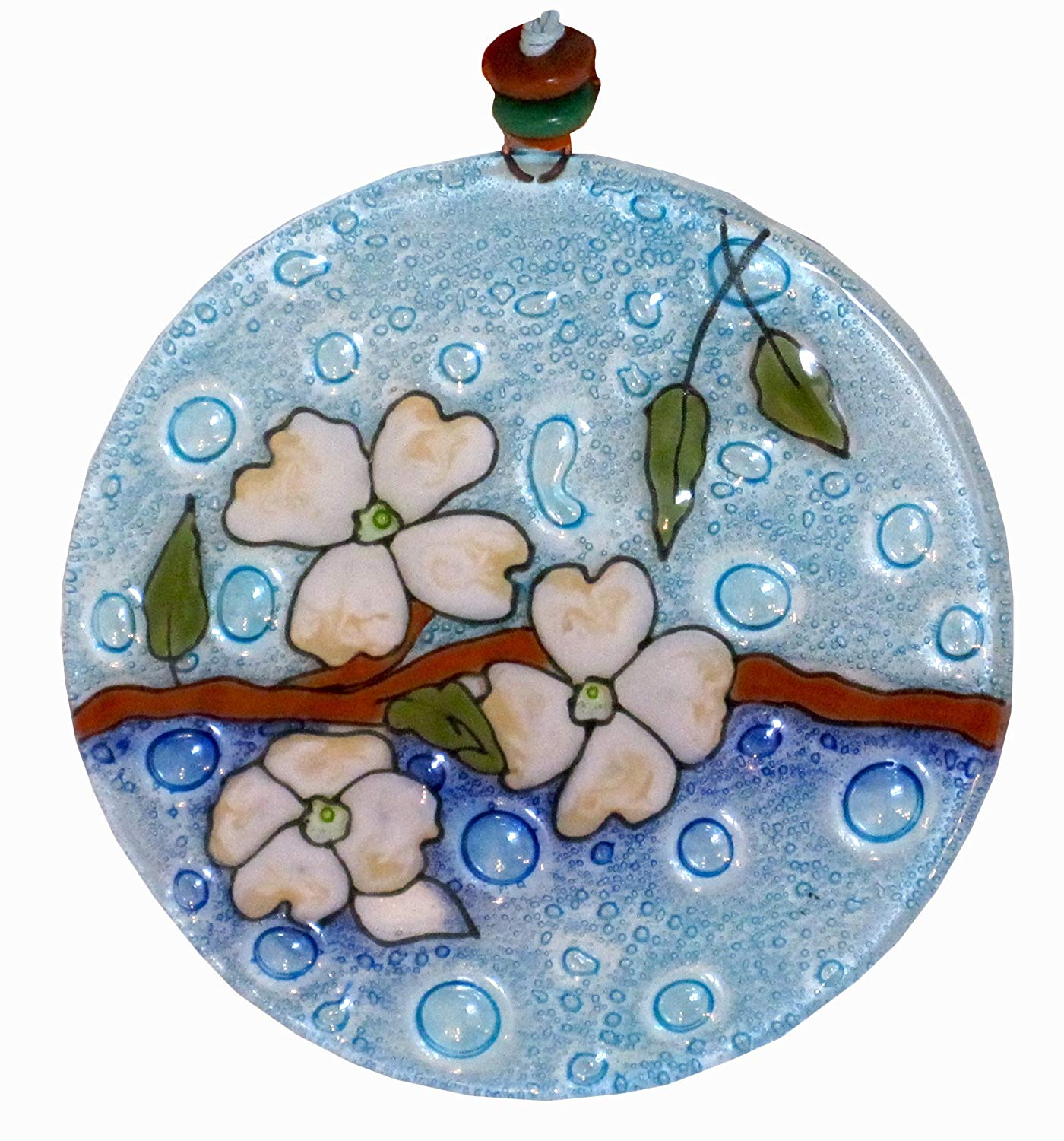Pampeana Dogwood Artisan Fused Recycled Glass Sun Catcher - 4.5 Inches Diameter