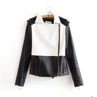 C82969A Women PU lace leather jacket/lapel pu jacket/high quality jacket