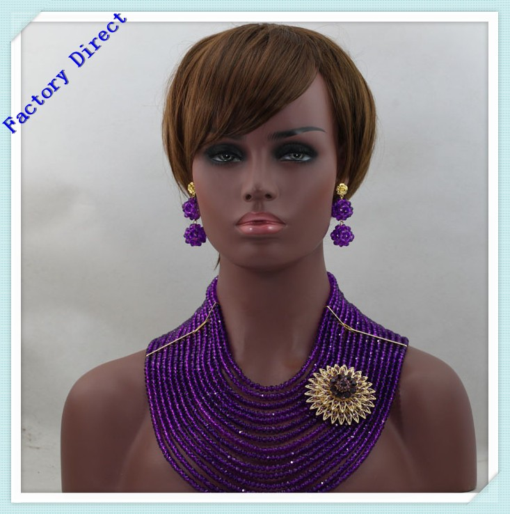 Luxury 15 Layers Purple Wedding Beads African Jewelry Sets Crystal Beaded Brooch Costume Fashion Beads Set GWH0021