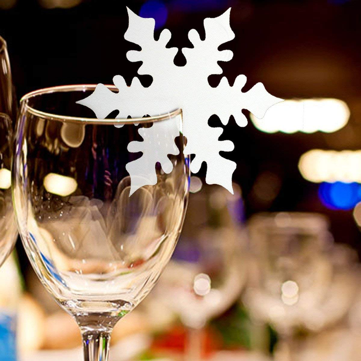 50pcs Snowflake Table Name Place Cards Wine Glass Xmas Wedding Party Decor